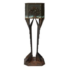 Art Deco Iron Pedestal Planter