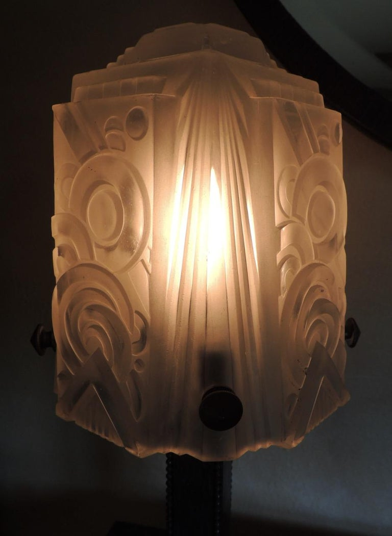 French Art Deco Iron Table Lamp with Muller Style Glass Shade For Sale