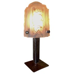 Art Deco Iron Table Lamp with Muller Style Glass Shade
