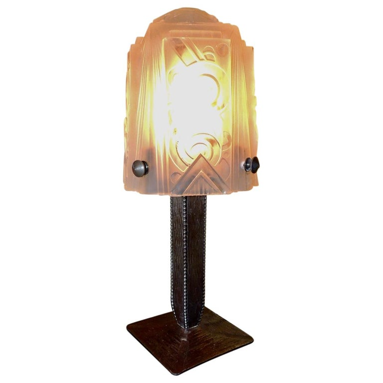 Art Deco Iron Table Lamp with Muller Style Glass Shade For Sale