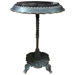 Art Deco Iron Table with Marble Top
