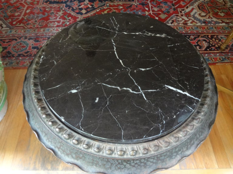 Art Deco Iron Table with Marble Top Inspired by Addison Mizner For Sale 2
