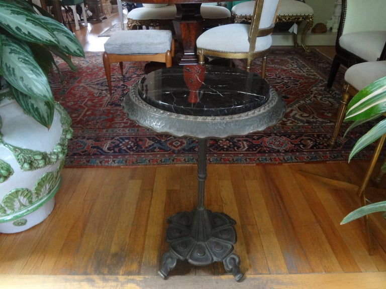 Art Deco Iron Table with Marble Top Inspired by Addison Mizner For Sale 5