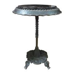 Art Deco Iron Table with Marble Top Inspired by Addison Mizner