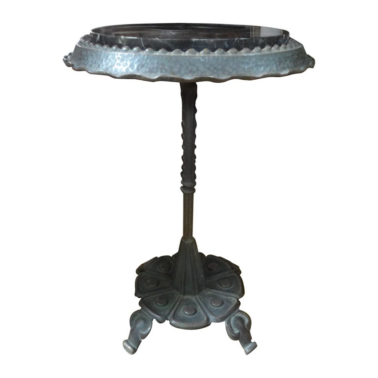Art Deco Iron Table with Marble Top Inspired by Addison Mizner For Sale
