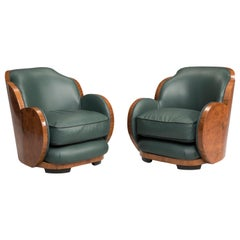 Art Deco Italian Armchairs Dark Green Leather and Wood Root Rounded Back