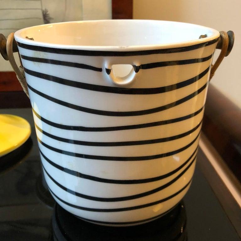 Art Deco Italian Black and Yellow Ceramic Ice Bucket, circa 1930 For Sale 6
