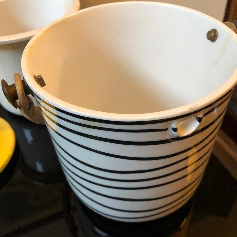 Art Deco Italian Black and Yellow Ceramic Ice Bucket, circa 1930 For Sale 2
