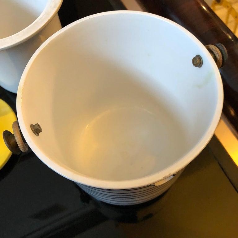 Art Deco Italian Black and Yellow Ceramic Ice Bucket, circa 1930 For Sale 4