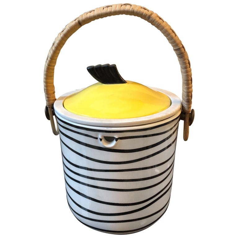 Art Deco Italian Black and Yellow Ceramic Ice Bucket, circa 1930 For Sale