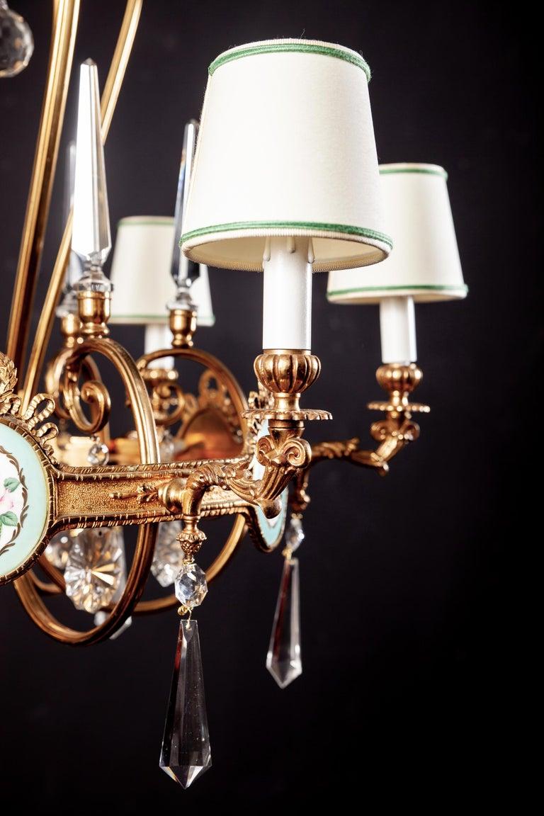 Art Deco Italian Brass Chandelier with Charming Porcelain Insert, 1940 For Sale 7