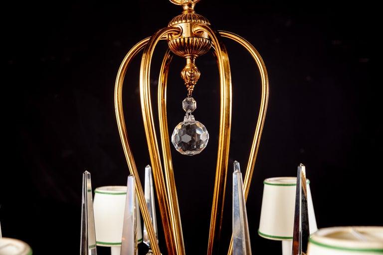 Art Deco Italian Brass Chandelier with Charming Porcelain Insert, 1940 For Sale 1