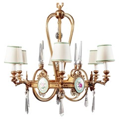 Art Deco Italian Brass Chandelier with Charming Porcelain Insert, 1940