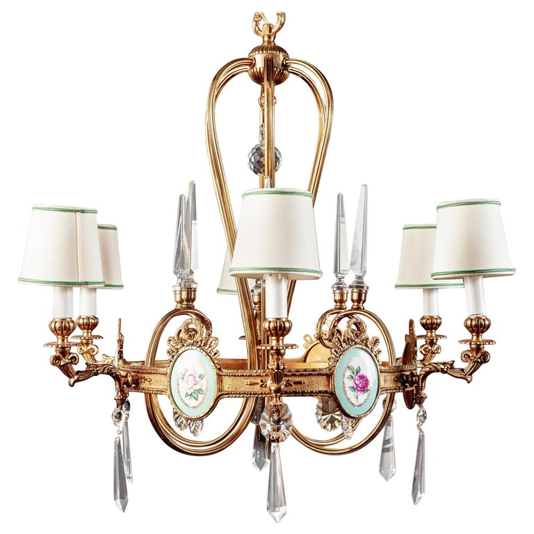 Art Deco Italian Brass Chandelier with Charming Porcelain Insert, 1940 For Sale