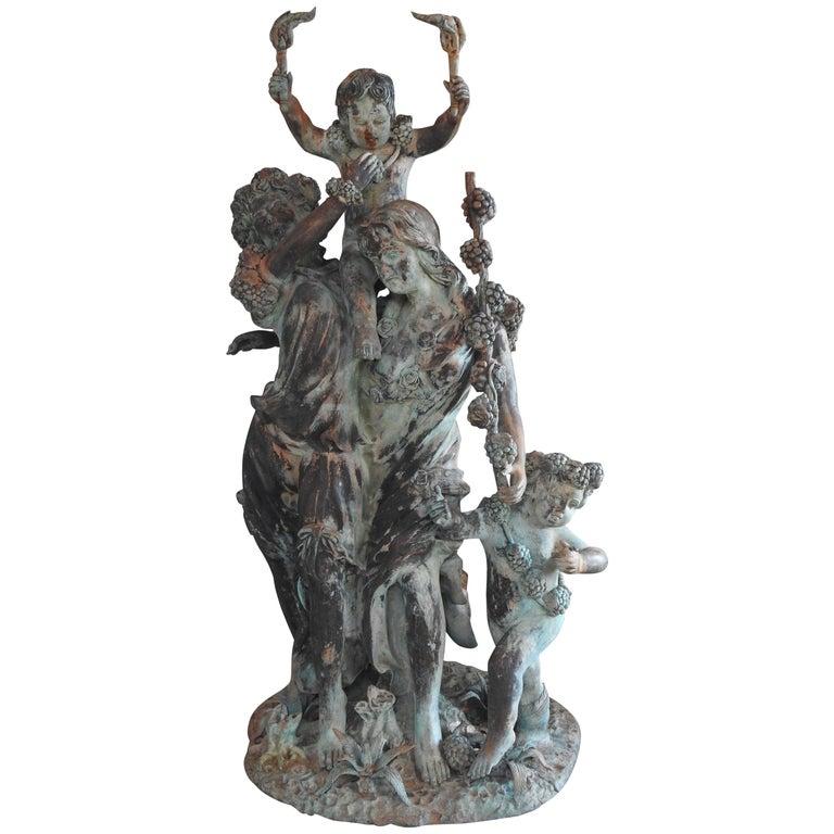 Art Deco Italian Bronze with Women and Children For Sale