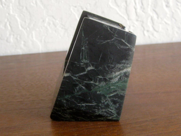 20th Century Art Deco Italian Carved Green Marble Perpetual Day/Date/Month Desk Calendar For Sale