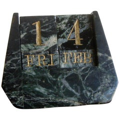 Art Deco Italian Carved Green Marble Perpetual Day/Date/Month Desk Calendar