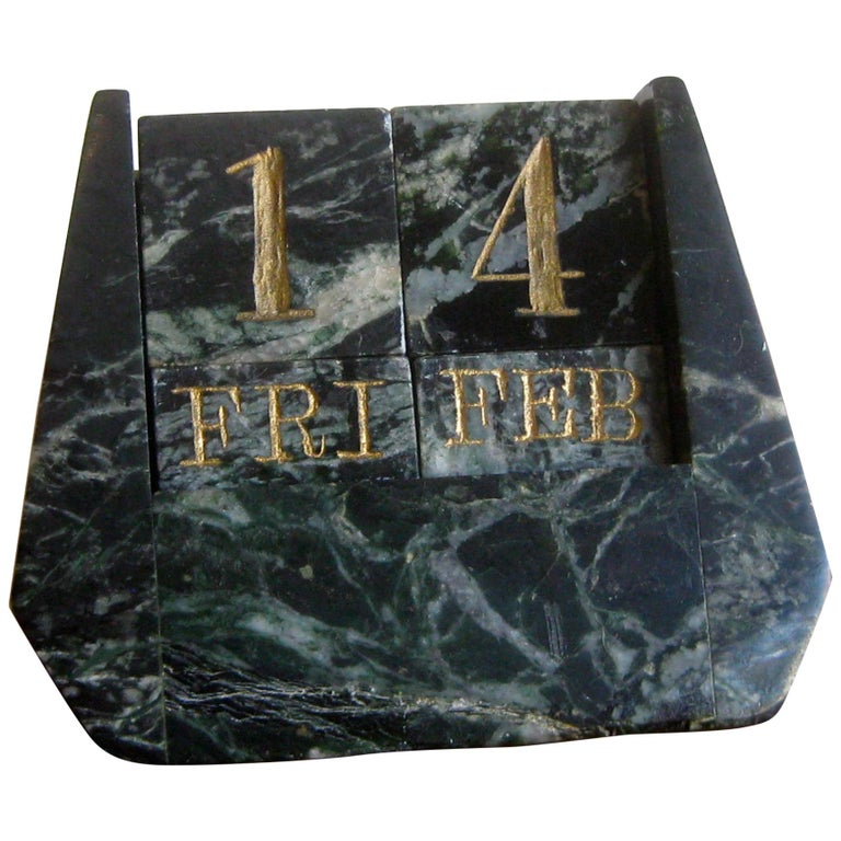 Art Deco Italian Carved Green Marble Perpetual Day/Date/Month Desk Calendar For Sale