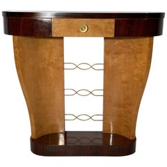 Art Deco Italian Demilune Console with Drawer and Brass Details