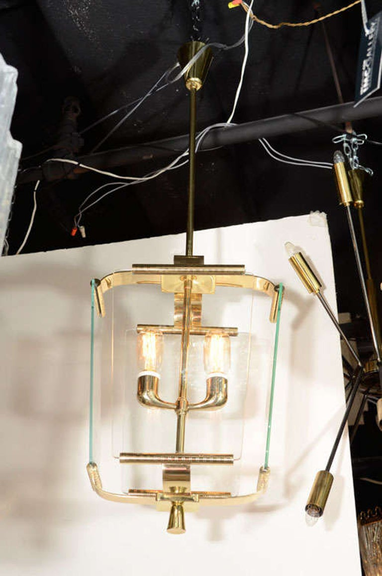 Art Deco Italian Four Glass Panel and Brass Lantern In Good Condition For Sale In New York, NY