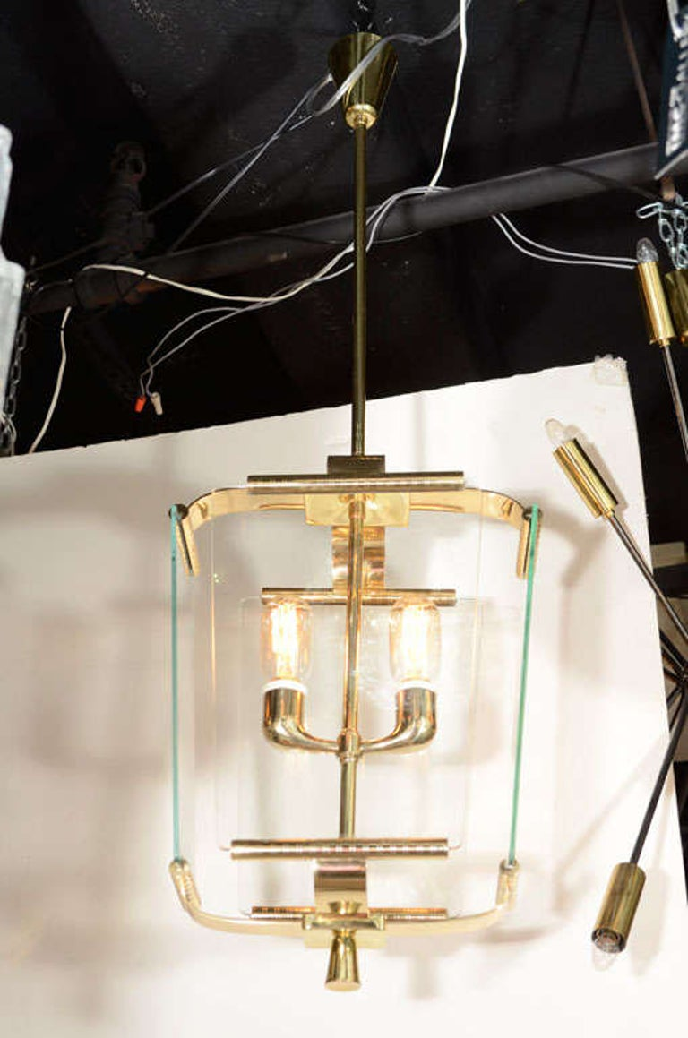 Mid-20th Century Art Deco Italian Four Glass Panel and Brass Lantern For Sale