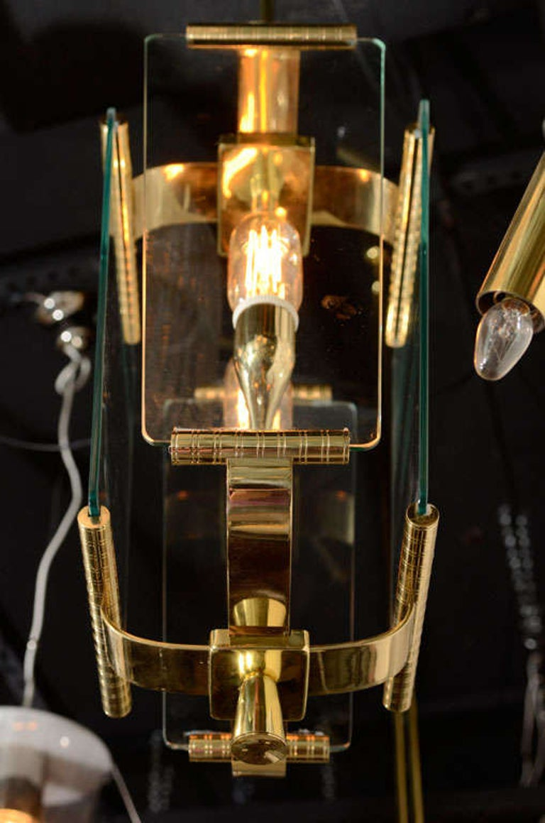 Art Deco Italian Four Glass Panel and Brass Lantern For Sale 4