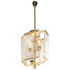 Art Deco Italian Four Glass Panel and Brass Lantern