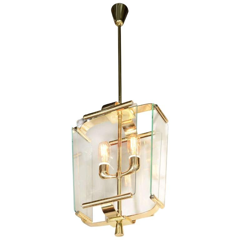 Art Deco Italian Four Glass Panel and Brass Lantern For Sale