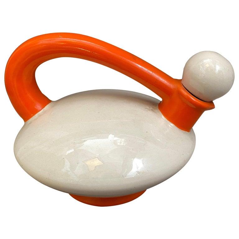 Art Deco Italian Futurism Orange and White Ceramic Teapot by Rometti