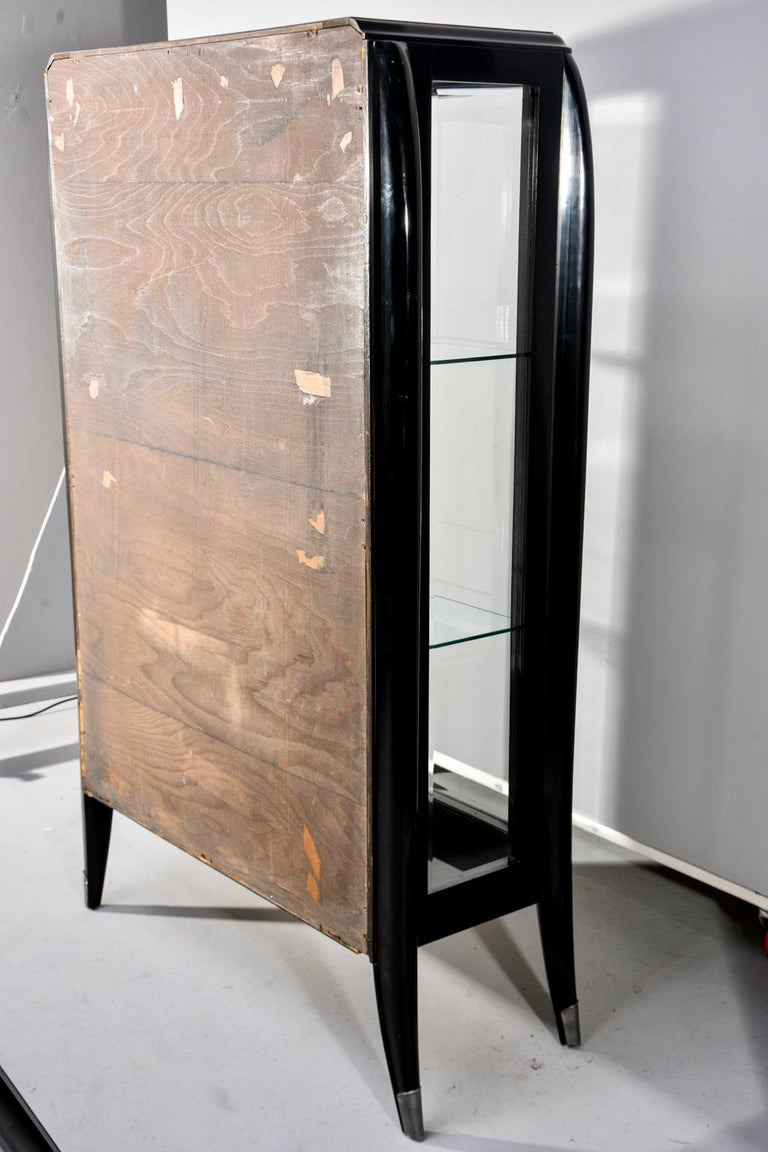 Art Deco Italian Glazed Cabinet with Glass Shelves For Sale 8