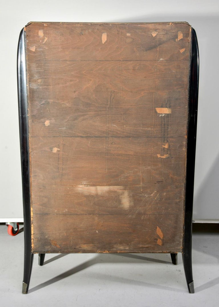 Art Deco Italian Glazed Cabinet with Glass Shelves For Sale 9