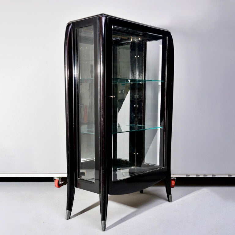 20th Century Art Deco Italian Glazed Cabinet with Glass Shelves For Sale