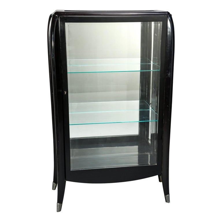 Art Deco Italian Glazed Cabinet with Glass Shelves For Sale