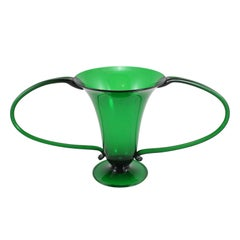 "Art Deco Italian 'Libelula"" Green Vase by Vittorio Zecchin for Venini"