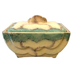 Art Deco Italian Light Blue and Beige Ceramic Rectangular Jewelry Box