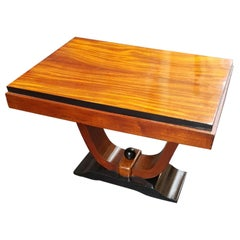 Art Deco Italian Mahogany Squared Small Side or Coffee Table, 1930s