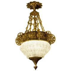 Art Deco Italian Ormolu and Murano Glass Majestic Lantern Chandelier, 1930