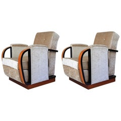 Art Deco Italian Pair of Armchairs, Beige Fabric and Black Details