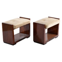 Art Deco Italian Pair of U-Shaped Stools Newly Covered with Velvet Fabric