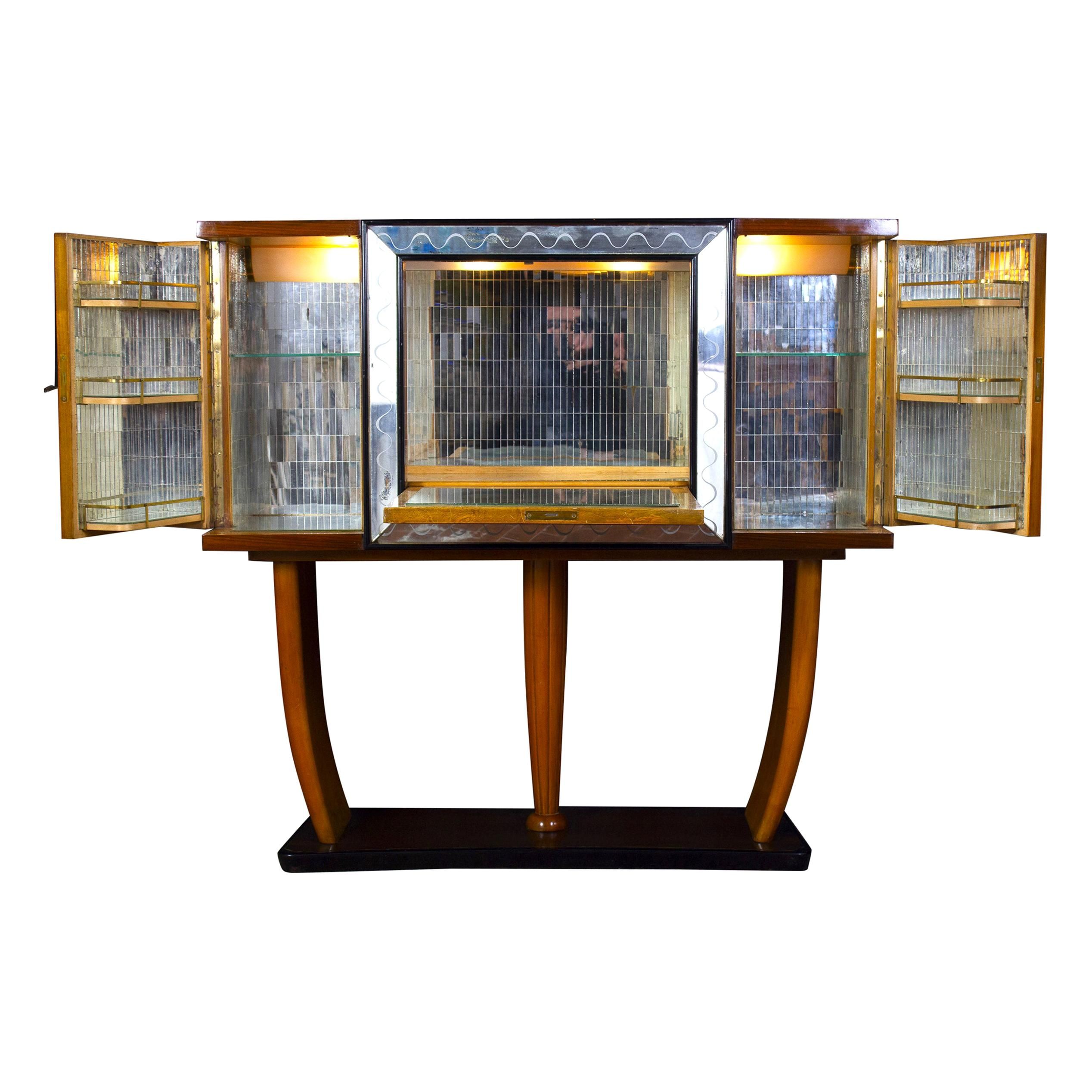 Art Deco Italian Rare Bar Cabinet Attributed to Osvaldo Borsani
