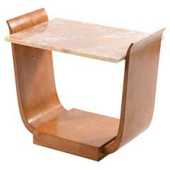 "Art Deco Italian ""U"" Shaped Side Table Onyx Top"