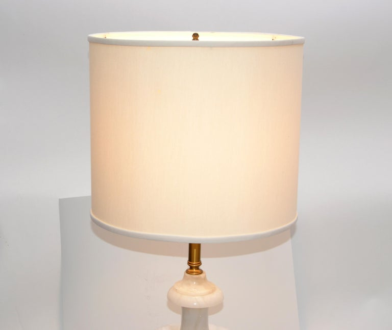 Art Deco Italian White Carrara Marble Hand Carved Table Lamp For Sale 1