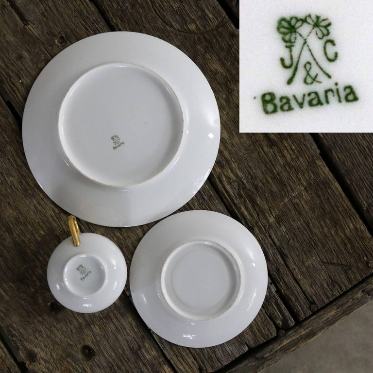Art Deco J and C Bavaria China Luncheon, Set for Four For Sale 4
