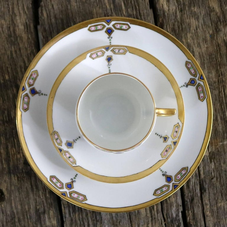 German Art Deco J and C Bavaria China Luncheon, Set for Four For Sale