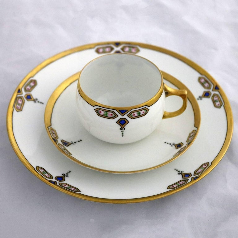 Art Deco J and C Bavaria China Luncheon, Set for Four In Good Condition For Sale In Topeka, KS