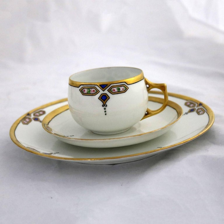 20th Century Art Deco J and C Bavaria China Luncheon, Set for Four For Sale