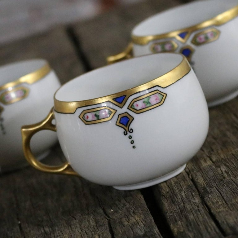 Porcelain Art Deco J and C Bavaria China Luncheon, Set for Four For Sale