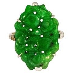 Art Deco Jade and Diamond Platinum Ring