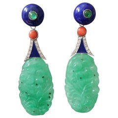 Art Deco Style Carved Burma Jade Lapis Lazuli Gold Coral Enamel Earrings