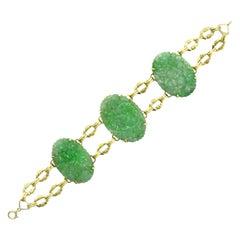 Art Deco Jade Bracelet Natural Jadeite Carved Flowers Apple Green 14K Gold Links